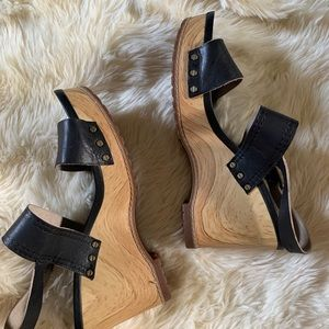 Timberland Shoes - TIMBERLAND Black & Wood Wedges Open Toe Heels 8